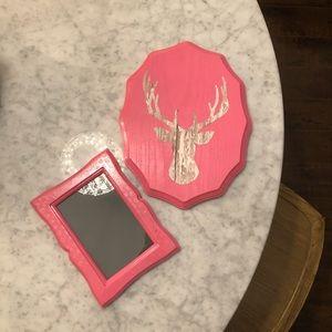 Pink home decor set (frame + deer antler decor)